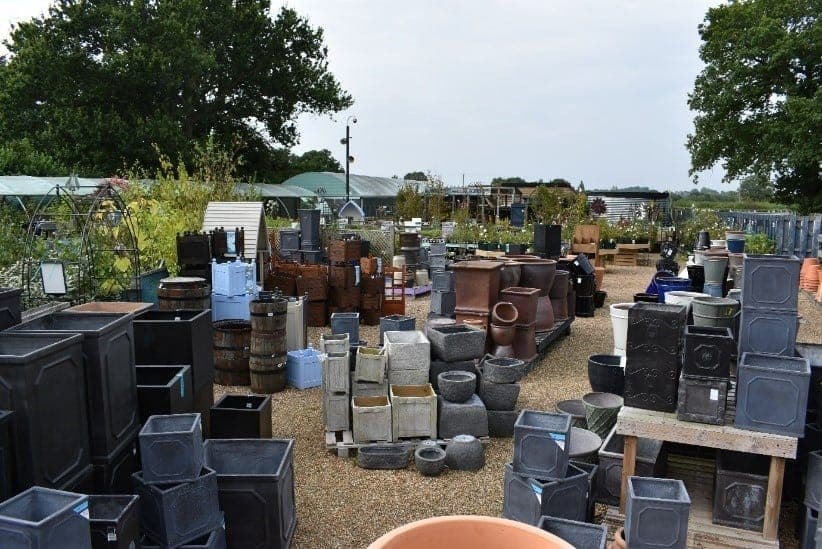 Large range of pots and containers available at Bumbles Plant Centre