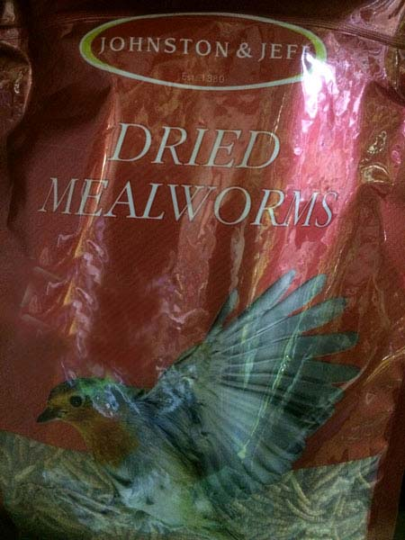Dried Mealworms bird food available at Bumbles Plant Centre