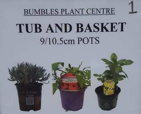 Tub and basket plants now in at Bumbles Plant Centre
