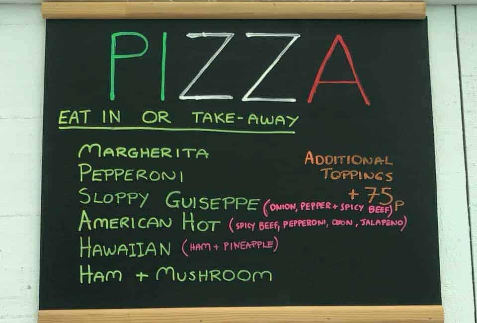 New pizza menu at Bumbles Coffee Shop