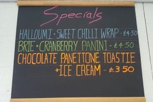 March Specials board at Bumbles Coffee Shop