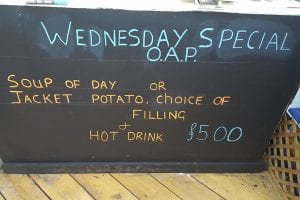 Wednesday OAP special at Bumbles Coffee Shop