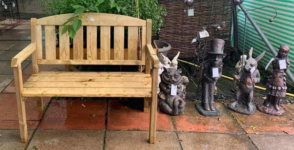 2 seater wooden bench at Bumbles Plant Centre
