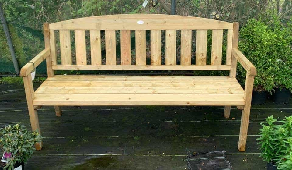 3 seater wooden bench at Bumbles Plant Centre