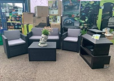 Patio furniture and barbecue display at Bumbles Plant Centre