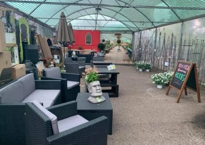 Patio furniture display at Bumbles Plant Centre