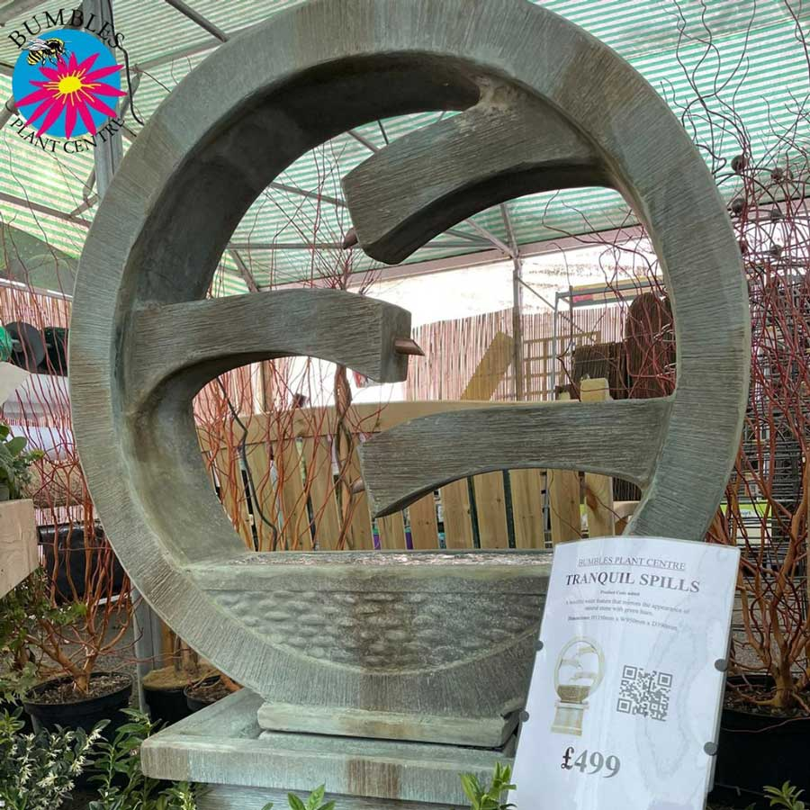 Tranquil Spills water garden feature at Bumbles, February 2021