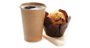 Takeaway coffee with cake or muffin available at Bumbles June 2020